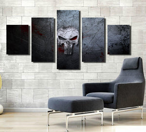 5 Panel Canvas Prints Painting Punisher Skull Canvas Art-056 (1)