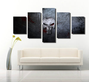 5 Panel Canvas Prints Painting Punisher Skull Canvas Art-056 (2)
