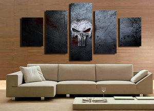 5 Panel Canvas Prints Painting Punisher Skull Canvas Art-056 (3)