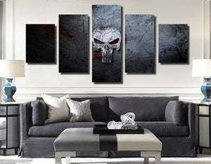5 Panel Canvas Prints Painting Punisher Skull Canvas Art-056 (5)