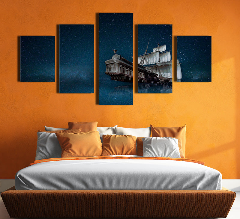 5 Panel Canvas Prints Paintings Wall Art Sailboat in Starry Picture ...