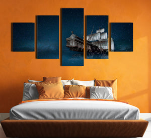 5 Panel Canvas Prints Paintings Wall Art Sailboat in Starry Picture-067 (1)