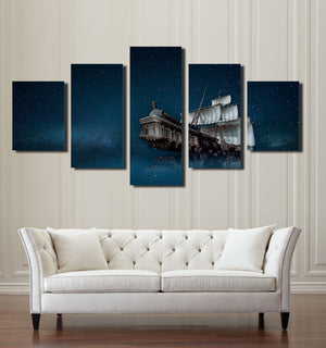 5 Panel Canvas Prints Paintings Wall Art Sailboat in Starry Picture-067 (3)