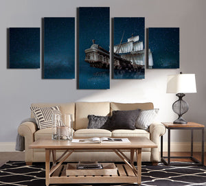 5 Panel Canvas Prints Paintings Wall Art Sailboat in Starry Picture-067 (4)