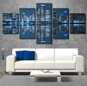 5 Panel Chicago City Nightscape Canvas Painting Prints-078 (1)