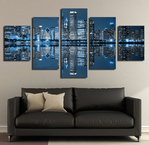5 Panel Chicago City Nightscape Canvas Painting Prints-078 (2)