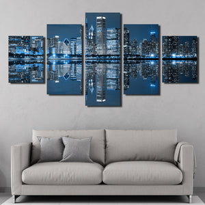 5 Panel Chicago City Nightscape Canvas Painting Prints-078 (3)