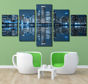 5 Panel Chicago City Nightscape Canvas Painting Prints-078 (4)