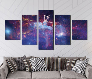 5 Panel Dancing Fairy in Starry Painting Print Canvas Art-051 (2)