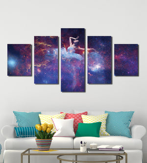 5 Panel Dancing Fairy in Starry Painting Print Canvas Art-051 (4)