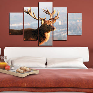 5 Panel Elk Canvas Prints Landscape Painting Picture Wall Art Poster-122 (1)