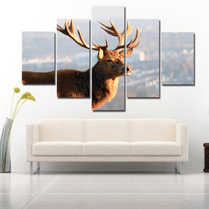 5 Panel Elk Canvas Prints Landscape Painting Picture Wall Art Poster-122 (2)