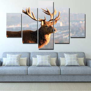 5 Panel Elk Canvas Prints Landscape Painting Picture Wall Art Poster-122 (3)