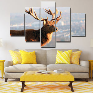 5 Panel Elk Canvas Prints Landscape Painting Picture Wall Art Poster-122 (4)