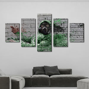 5 Panel Fireman Silhouette Poster Painting Canvas Prints-053 (2)