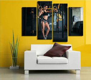 4 Panel Fitness Bodybuilding Gym Picture Print Canvas Wall Art-048 (1)