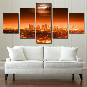 5 Panel Full Moon City Night Landscape Print Art Painting-084 (4)