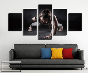 5 Panel Girl Fitness Workout Poster Print Canvas Modern Art-050 (1)