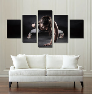 5 Panel Girl Fitness Workout Poster Print Canvas Modern Art-050 (2)