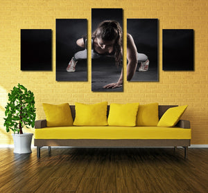 5 Panel Girl Fitness Workout Poster Print Canvas Modern Art-050 (3)