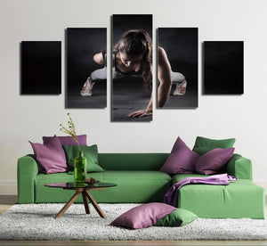 5 Panel Girl Fitness Workout Poster Print Canvas Modern Art-050 (4)