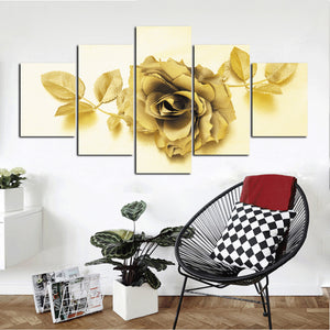 5 Panel Golden Rose Flower Canvas Print Art-037 (2)