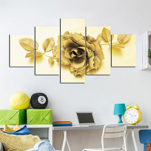 5 Panel Golden Rose Flower Canvas Print Art-037 (3)