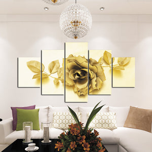 5 Panel Golden Rose Flower Canvas Print Art-037 (4)