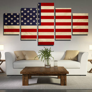 5 Panel HD Printed America Flag Canvas Painting Print Picture Wall Art-093 (2)