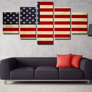 5 Panel HD Printed America Flag Canvas Painting Print Picture Wall Art-093 (3)