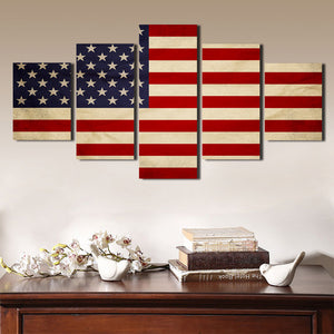 5 Panel HD Printed America Flag Canvas Painting Print Picture Wall Art-093 (4)