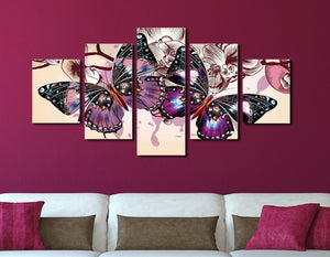 5 Panel HD Printed Butterfly Wall Art Canvas Painting-054 (1)