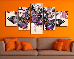 5 Panel HD Printed Butterfly Wall Art Canvas Painting-054 (2)