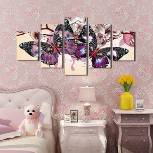 5 Panel HD Printed Butterfly Wall Art Canvas Painting-054 (3)