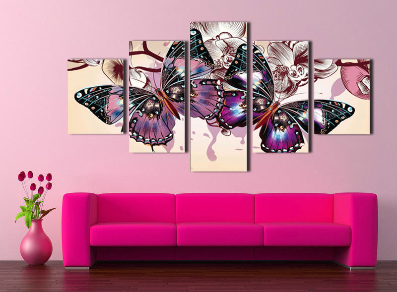 5 Panel HD Printed Butterfly Wall Art Canvas Painting Picture Decor ...
