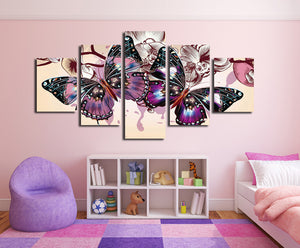 5 Panel HD Printed Butterfly Wall Art Canvas Painting-054 (5)
