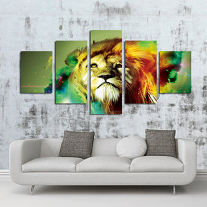 5 Panel Lion Canvas Wall Prints Picture Painting-031 (1)