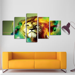 5 Panel Lion Canvas Wall Prints Picture Painting-031 (2)
