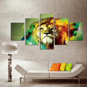 5 Panel Lion Canvas Wall Prints Picture Painting-031 (5)