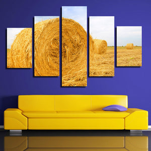 5 Panel Modern HD Printed Painting-The Harvested Wheat Field-083 (1)