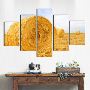 5 Panel Modern HD Printed Painting-The Harvested Wheat Field-083 (2)