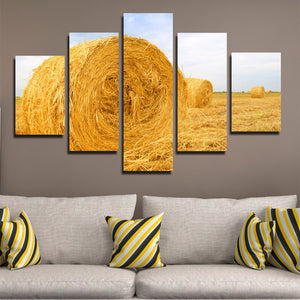 5 Panel Modern HD Printed Painting-The Harvested Wheat Field-083 (3)