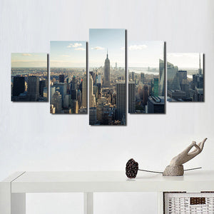 5 Panel New York Empire State Building Landscape Canvas Prints-077 (1)