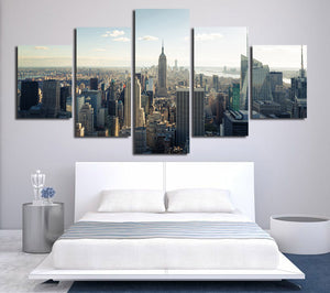 5 Panel New York Empire State Building Landscape Canvas Prints-077 (2)
