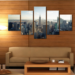5 Panel New York Empire State Building Landscape Canvas Prints-077 (3)