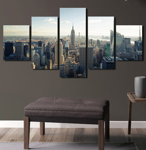 5 Panel New York Empire State Building Landscape Canvas Prints-077 (4)