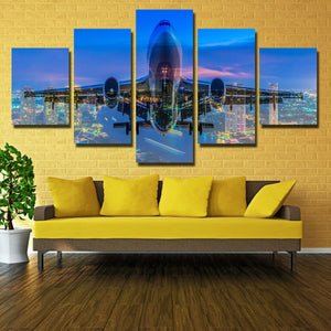 5 Panel Plane Cross City Nightscape Painting Canvas Prints-098 (1)