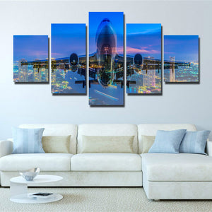 5 Panel Plane Cross City Nightscape Painting Canvas Prints-098 (2)