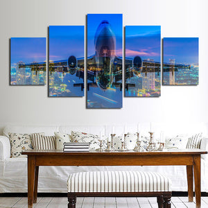 5 Panel Plane Cross City Nightscape Painting Canvas Prints-098 (3)