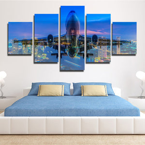 5 Panel Plane Cross City Nightscape Painting Canvas Prints-098 (4)